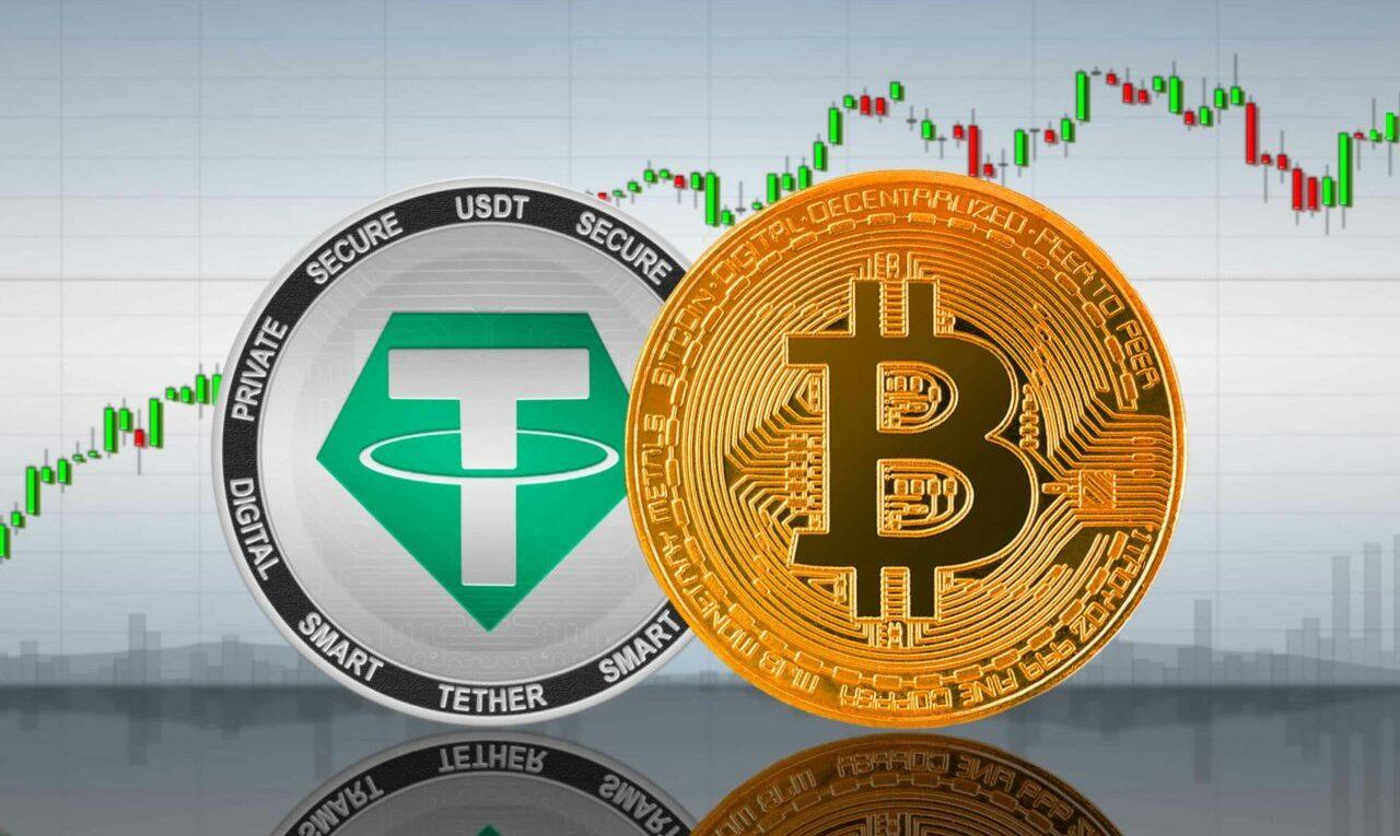 Imagem do token Tether e criptomoeda Bitcoin